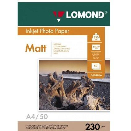 Матовая фотобумага LOMOND A4/230грамм/50листов/матовая 1-сторон.(0102016)