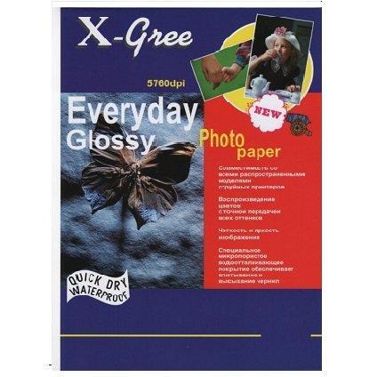Фотобумага X-GREE Глянцевая EVERYDAY  A5/100/210г  E7210-А5-100 (20)