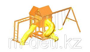 Детская площадка «ФУНТИК» cвинтовой трубой, горкой и рукоходом