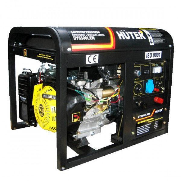 Бензогенератор HUTER DY6500LXW (5000Вт с колесами, сваркой)