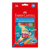 Карандаши акварельные, шестигранные, Рыбки, с кисточкой, 36 цветов, в картонной коробке.
