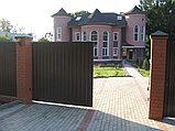 Откатные уличные ворота стандартных размеров с заполнением профлистом REVOLUTION-SLS, фото 2