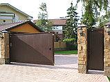 Откатные уличные ворота стандартных размеров в алюминиевой раме с заполнением сэндвич-панелями SLG-S, фото 2