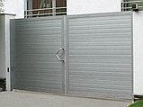 Распашные ворота стандартных размеров в алюминиевой раме с заполнением сэндвич-панелями SWS, фото 2