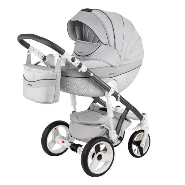 Детская коляска Adamex 3 в 1 Monte каучуковые колеса D8