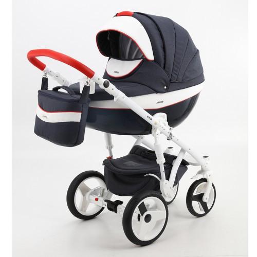 Детская коляска Adamex 3 в 1 Monte каучуковые колеса D32