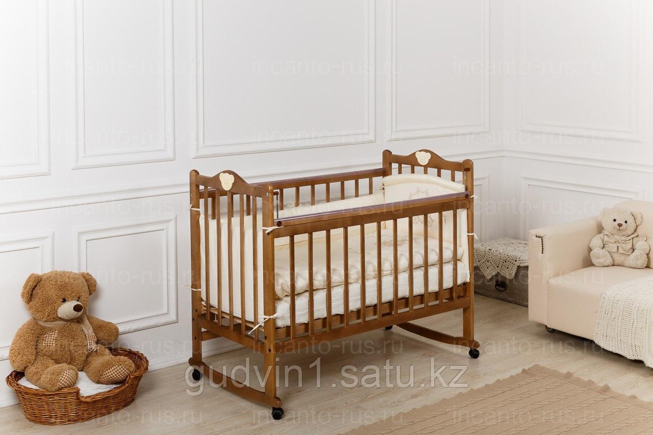 Кровать «Incanto Pali» с мишкой, цвет орех, колесо-качалка00-88586