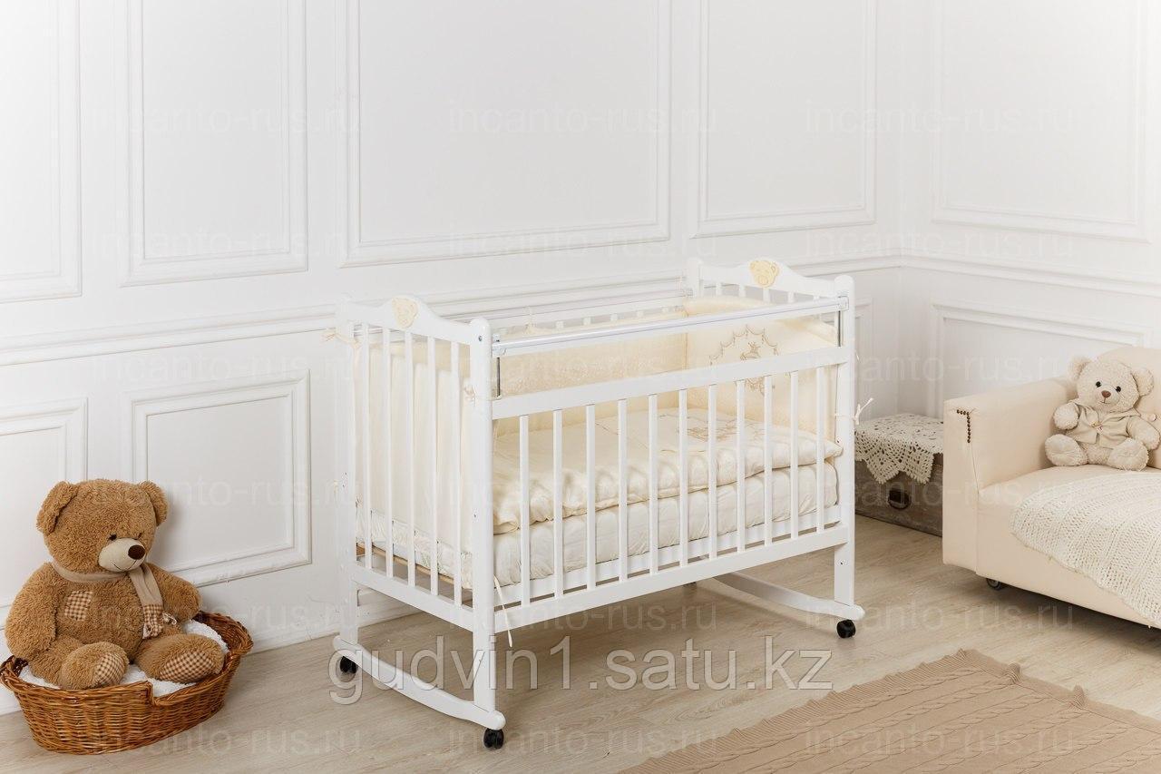 Кровать «Incanto Pali» с мишкой, цвет белый, колесо-качалка 00-88592