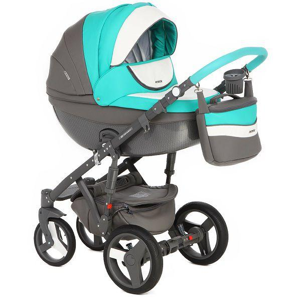 Детская коляска Adamex 3 в 1 Monte каучуковые колеса D106