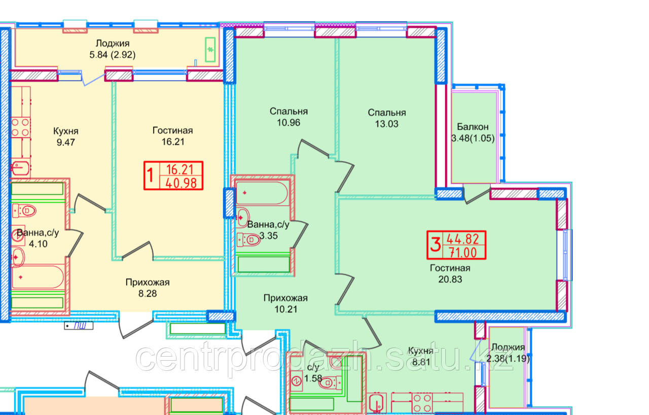 1 комнатная квартира в ЖК Томирис  40.98 м²