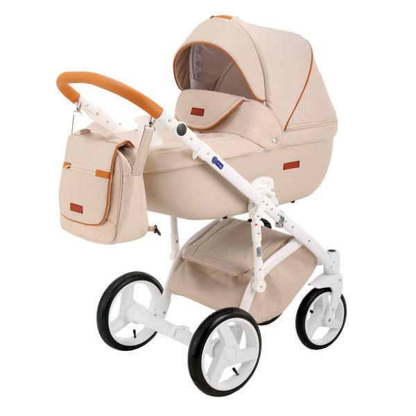 Детская коляска Adamex 3 в 1 Massimo каучуковые колеса v15