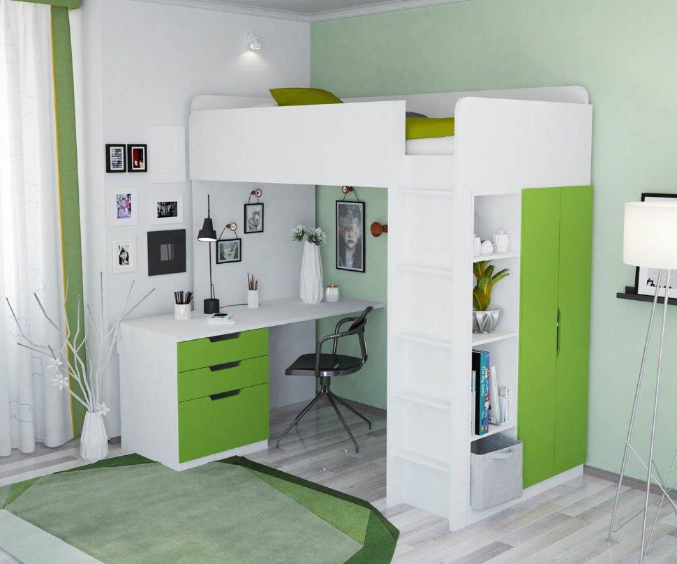 Кровать-чердак 5 в 1 Polini Simple с письменным столом и шкафом (белый-лайм)