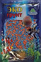Цветная мраморная крошка 2-5 мм ОРАНЖЕВО-ГОЛУБАЯ (блестящая)