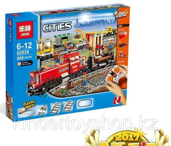 Конструктор Lepin 02039 Красный груз поезд аналог лего Lego City 3677