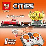Конструктор Lepin 02039 Красный груз поезд аналог лего Lego City 3677, фото 7