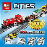 Конструктор Lepin 02039 Красный груз поезд аналог лего Lego City 3677, фото 8