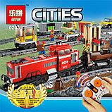 Конструктор Lepin 02039 Красный груз поезд аналог лего Lego City 3677, фото 4