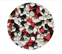 Цветная мраморная крошка 2-5 мм КРАСНО-ЧЕРНО-БЕЛАЯ (блестящая)