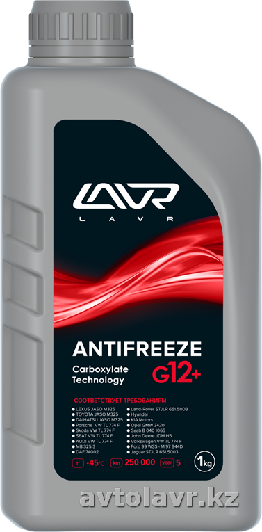 Охлаждающая жидкость антифриз ANTIFREEZE LAVR -45°С (G12+) CARBOXYLATE TECHNOLOGY 1 кг (красный)