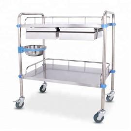 Столик процедурный из нержавеющей стали с двумя выдвижными ящиками(600х400х860 мм)