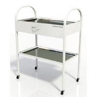 Столик хирургический с 1-им выдвижным ящиком и 2-мя металлическими поддонами (никелированными) (размер 350х450х800 мм.)