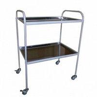 Столик инструментальный с 2-мя металлическими поддонами (никелированными) (350х450х800 мм)