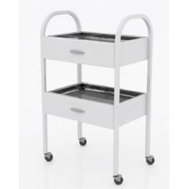 Столик хирургический с 2-мя выдвижными ящиками и 2-мя металлическими поддонами (никелированными) (размер 350х450х800 мм.)