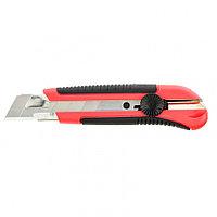 Нож, 25 мм, выдвижное лезвие, металлическая направляющая, двухкомпонентный корпус, винтовой фиксатор, с, фото 1