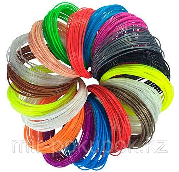 PLA пластик для 3Д ручки 20 цветов по 5 м, (запасные стержни), Алматы