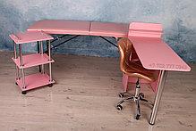 Помощник косметолога. Косметологическая тележка, тумба. Розовый., фото 3