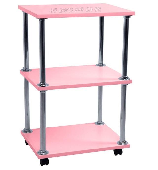 Помощник косметолога. Косметологическая тележка, тумба. Розовый.