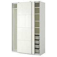 Гардероб ПАКС белый Фэрвик белое стекло ИКЕА, IKEA, фото 1