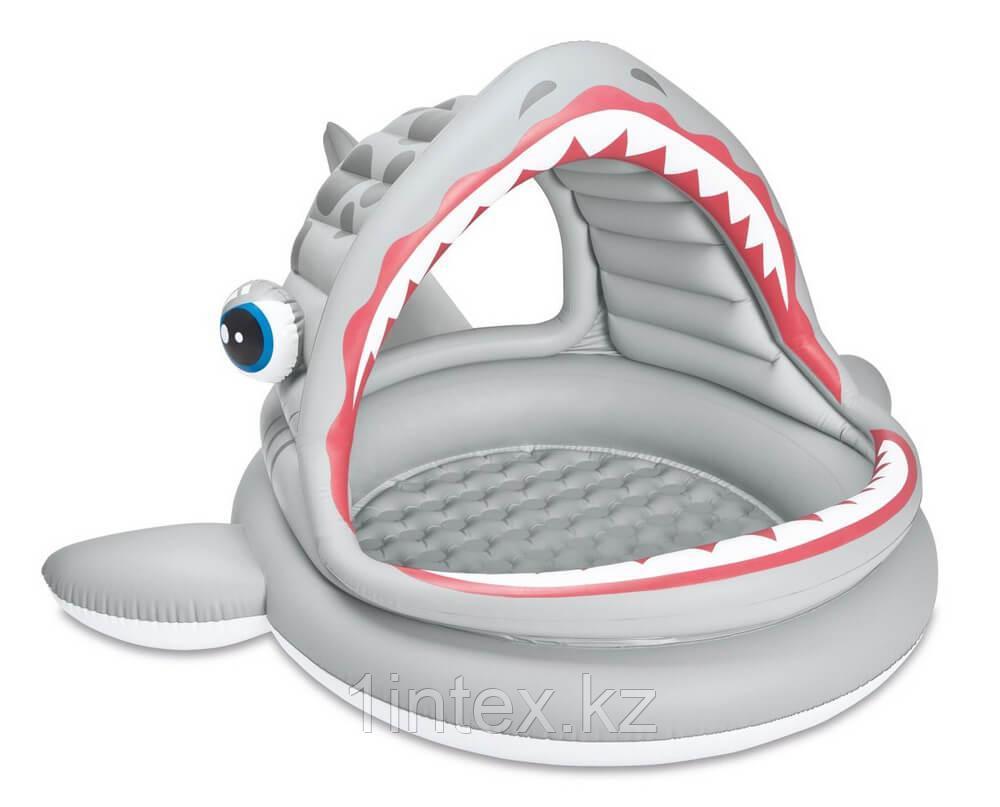 Бассейн детский Акула с навесом  INTEX
