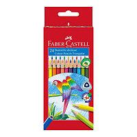 Карандаши цветные, трехгранные, 24 цвета, в картонной коробке.