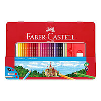 Карандаши цветные, шестигранные, ЗАМОК, 48 цв, точилка, ластик, черногр. карандаш в метал. коробке.