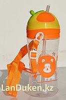 Детская бутылочка с трубочкой 500 мл оранжевая