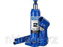 Домкрат гидравлический бутылочный T50, 2т, 180-347мм, ЗУБР Профессионал 43060-2  43060-2_z01