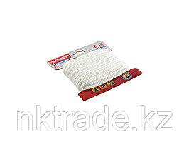 Шнур ЗУБР полиамидный, плетеный, повышенной нагрузки, без сердечника, белый, d 6, 20м 50320-06-020