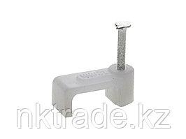 Скоба-держатель для плоского кабеля, с оцинкованным гвоздем, 4 мм, 50 шт, ЗУБР Мастер 45112-04