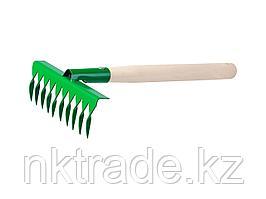 Грабельки садовые с деревянной ручкой, РОСТОК 39614, 10 витых зубцов, 200x62x405 мм