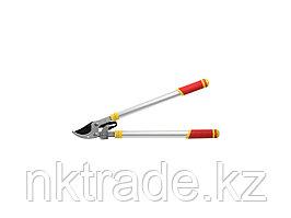Сучкорез GRINDA с тефлоновым покрытием, алюминиевые телескопические ручки, двухрычажный храповый