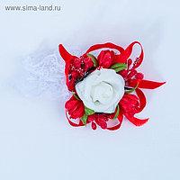 Повязка на руку для подружек невесты «Роза», на резинке, красная