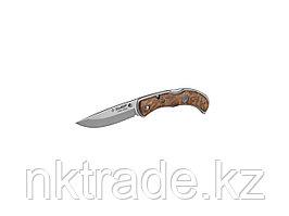 """Нож ЗУБР """"ПРЕМИУМ"""" НОРМАНН складной, эргономичная рукоятка с деревянными накладками, 220мм/лезвие 95мм 47714"""