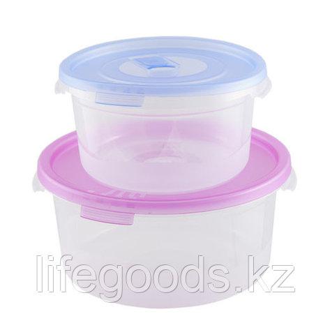 """Комплект контейнеров (2шт) """"Смайл"""" круглые с клапаном (0,4л+0,8л)СВЧ, фото 2"""