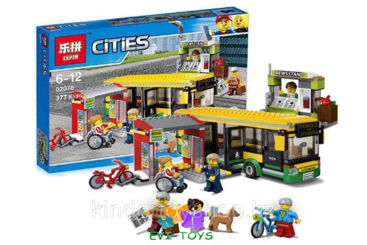 """Конструктор аналог Лего LEPIN 02078 """"Автобусная остановка"""" 377 деталей аналог LEGO 60154"""