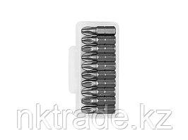"""Биты ЗУБР """"МАСТЕР"""" кованые, хромомолибденовая сталь, тип хвостовика C 1/4"""", PZ3, 25мм, 10шт 26003-3-25-10"""