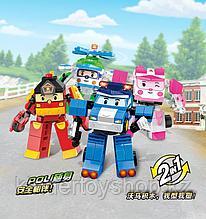 Конструктор WOMA 4 набора c0750-1-4Robocar Poli Робокар Поли и его друзья 2 в 1 аналог Lego