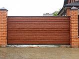 Откатные ворота из металлосайдинга, фото 2