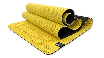 Мат для йоги 6 мм двухслойный перфорированный желтый