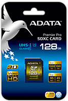 Карта памяти SDXC 128Gb, ADATA Premier Pro, ASDX128GUI1CL10-R, UHS-I, Class 10, Read 95Mb/s, Write 45Mb/s